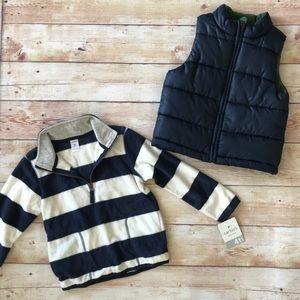 Fleece Striped Pullover & Navy Blue Puffer Vest